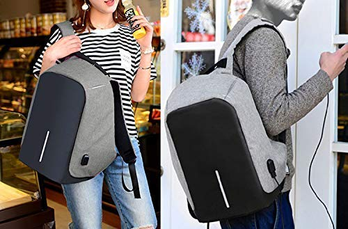 Best anti theft backpack in India 2020 Krishyam Anti Theft Waterproof Business Travel Laptop Bag with USB Cable and Built in Charging Port for College and Office Work Image 6