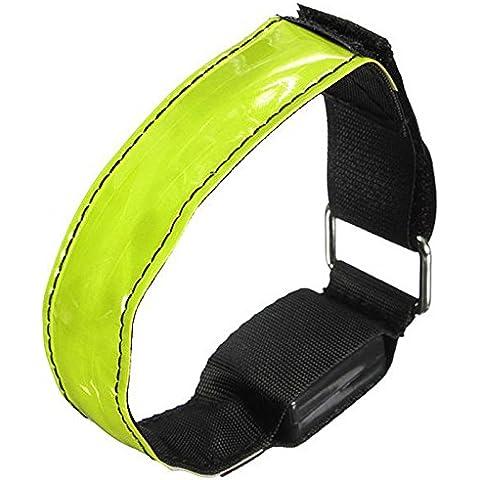 MaMaison007 Brazalete reflectante de seguridad de LED intermitente correa Correa muñeca brazo abrigo banda - verde