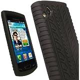 igadgitz étui en silicone de couleur Noir avec motif trace de pneu et protecteur d'écran pour Samsung Wave 2 S8530