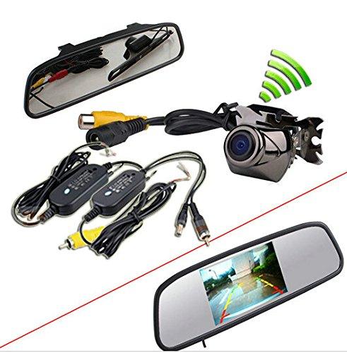 BW® Nachrüstsatz für Auto-Rückfahrassistent, komplett mit TFT-LCD-Monitor 4,3Zoll, im Rückspiegel einzubauen, und kabellose wasserdichte CCD-Rückfahrkamera