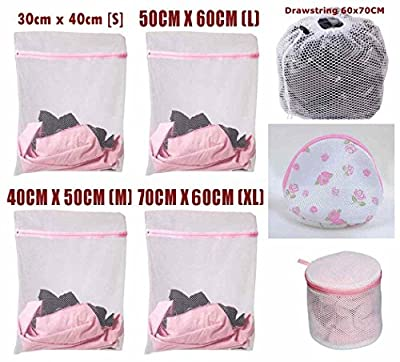 WestHOME Mesh Laundry Bags for Washing Machines with Pink Zips, Net Washing Bag for Delicates, Underwear, Socks, Bras - Multi Sizes from JMN-4
