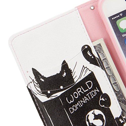 Etsue für iPhone 6S/iPhone 6 Leder Brieftasche Case Handy Hülle, iPhone 6S/iPhone 6 [schwarz Katze Auge] Muster Lederhülle Leder Flip Case Wallet Tasche Schutzhülle im Bookstyle Magnet Etui Schale mit schwarz Katze Augen