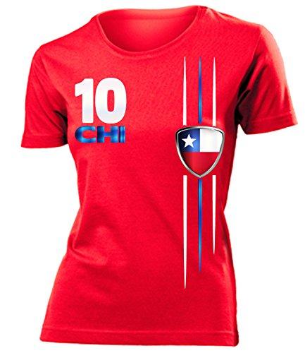 Chile 4303 Fussball Fanshirt Fan Shirt tshirt Fanartikel Artikel Frauen Damen T-Shirts Rot S
