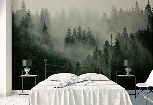 Vlies Fototapete Fotomural - Wandbild - Tapete - Wald Nebel Natur - Thema Wald und Bäume - XXL - 416cm x 290cm (BxH) - 4 Teilig - Gedrückt auf 130gsm Vlies - FW-1116VEXXXXL -