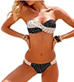 Minetom Donne Sexy Piccante Bandeau Bikini Impostato Senza Spalline Push Up Imbottito Costume Da Bagno Nero-Bianco 42