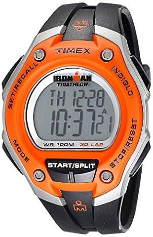 Timex - Homme - T5K529SU - Ironman Running 30 Lap Mega - Quartz Digital - Orange - Noir - Résine