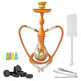Mianova® Orientalische 2er Shisha Wasserpfeife für Partner Höhe 45cm Kamel Orange Set mit 2 Schläuche, 5 Mundstücke, Zange und Kohle 1 Rolle