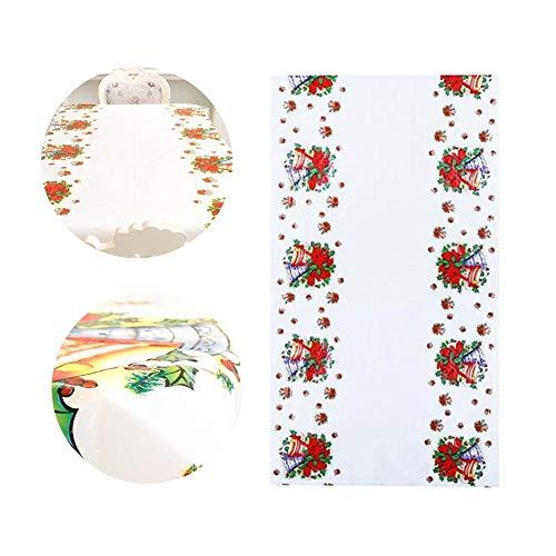 Joloy Eine rechteckiges Paket Tischdecke Weihnachtstischwäsche Einweg gedruckt Fantasie Cartoon Tabelle PVC umfasst 43 x 71 Zoll (Bell)