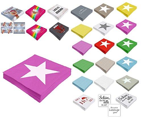 Unbekannt Papier Servietten 3 lagig 33 x 33 cm (20, Pink Stern)