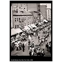 """""""Jewish Market, East Side, New York"""" Vintage American Street Scene, c1900 - Stunning, Highly Detailed A4 Glossy Art Print Exclusive to The Andromeda Print Emporium!"""