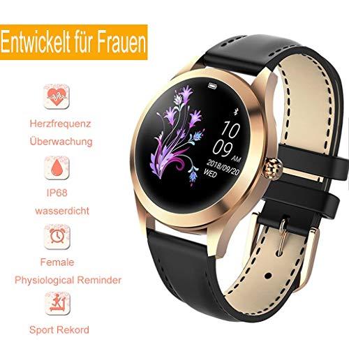 Damen wasserdichte Smartwatch,Runde Touchscreen IP68 wasserdichte Smartwatch, EIN Fitness-Tracker, Der Schlaf- Und Herzfrequenz-Schrittzähler Erkennt, Android/iOS-Armband [Entwickelt for Frauen]