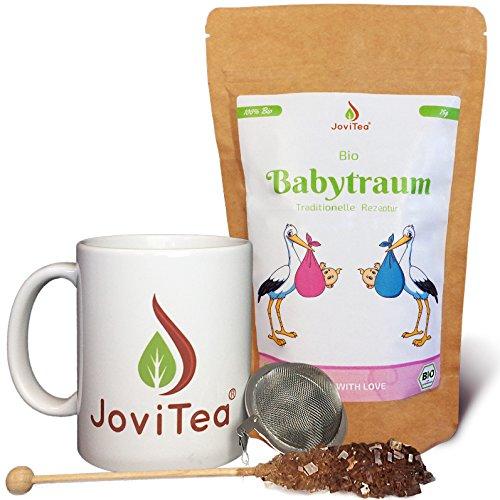 JoviTea® Babytraum Tee BIO - Geschenk Set + Mit JoviTea® Teetasse, Edelstahl Sieb & Kandisstick + Traditionelle Rezeptur - spezielle Kräutermischung (Weihnachten Tee Baby)