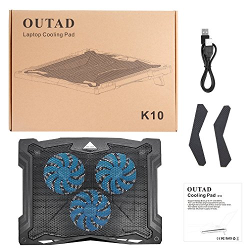 Queenaal OUTAD Ultradünnes LED-Licht USB Powered 3 Fan Chill Mat Laptop Cooling Pad Schwarz -