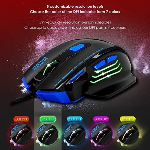 EMPIRE GAMING - Nouveau - Souris gamer filaire Hellhounds gamers - 7200 DPI - 7 boutons programmables avec Logiciel - Rétro-éclairage RGB - ... 6