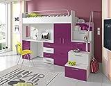 Furnistad - Hochbett SKY - Kinderzimmer Komplett (Option rechts, Weiß + Violett)