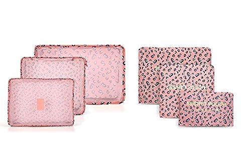 Lot de 6sacs de rangement/lot imperméable Vêtements Emballage Cube de voyage bagages organisateur Sac Rose Rose/léopard
