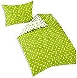 4Home Bettwäsche Grüner Punkt, Baumwolle, Grün/Weiß, 200 x 140 cm, 2 Einheiten