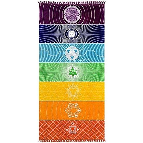 Alfombra de yoga con flecos y estampado de arcoíris, muy versátil- posibilidad de usarla como toalla de playa o para colgar en la pared