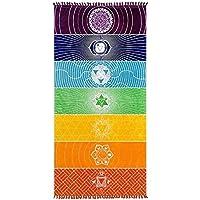 Alfombra de yoga con flecos y estampado de arcoíris, muy versátil- posibilidad de usarla