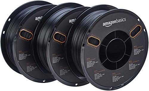 AmazonBasics - PETG 3D-Drucker Filament, 1,75 mm, Multipaket mit 5 Farben, 1 kg Spule, 3 Spulen, Schwarz