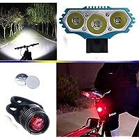 LED Luz de la bicicleta bici Linterna LáMPARA TORCH frontal Cabeza 3x CREE XM-L U2 /Cree 3X lúmenes LED de bicicleta /bici lámpara Luz LED frontal para manillar de bicicleta bicicletas (3 focos, 4 modos) con 4x16850 batería y cargador & 2 x Luz Luces L ámpara Trasera para Bici Bicicleta (Azul)