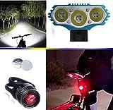 E-Fun Faro Bicicletta Anteriore LED Luce luci per Bici Bicicletta MTB,Torcia da Testa Lampada Frontale Bici Faro,(4 modalità,3 LED) 3X CREE XML Luce LED Bici & Posteriore Bicicletta