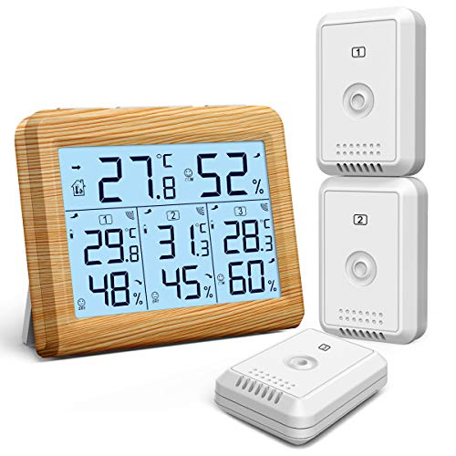 ORIA Termómetro Higrómetro Digital, Temperatura Humedad Monitor Exterior y Interior con Sensor inalámbrico...
