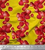 Soimoi Gelb Kunstseide Stoff Himbeere, Erdbeere und Kirsche