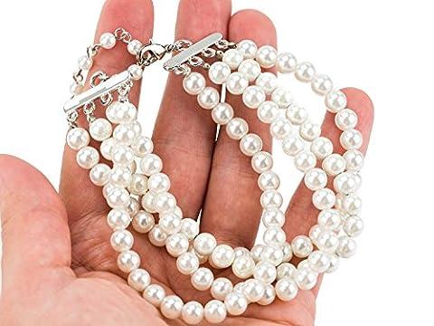 Bracelet Magnétique Marie-Antoinette - Anti-douleur - Perles en Hématite Pierre Naturelle - Femme - Blanc