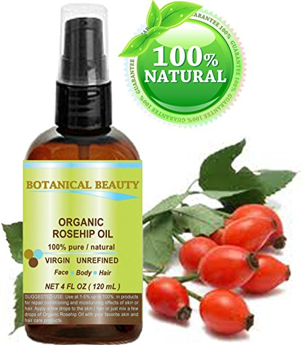 Organic Rosehip Oil 100% Pure. For Face, Hair And Body. 4 Fl.oz.- 120 ml. by Botanical Beauty