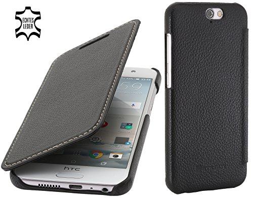 StilGut Book Type Case, Hülle Leder-Tasche für HTC One A9. Seitlich klappbares Flip-Case aus Echtleder für HTC One A9, Schwarz