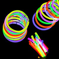 Artisan Gifts 100 Pieces Glow Sticks, 20cm glowing wrist bands with connectors party pack