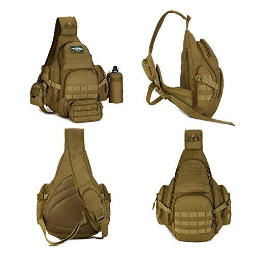 SUNVP Tactical Military Sling Chest Pack BAG Molle Daypack Laptop Rucksack Große Schulter TASCHE Crossbody Duty Gear Für Jagd Camping Trekking ACU Tarnung