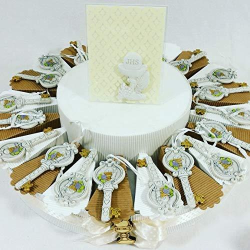 Torta porta bomboniere con chiavi appendino prima comunione con calice e ostia jhs + centrale carlo pignatelli tema + confetti sigillati