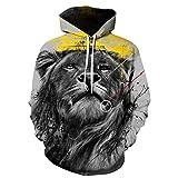serliyHerren Kapuzenpullover Lebensecht 3D Grafik Hoodie mit Kängurutasche Pullover mit Kapuze Sweat Hood Wolf Pulli Totenkop