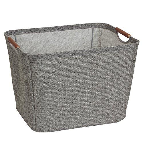 Household Essentials Aufbewahrungskorb, klein, keilförmig, mit Holzgriffen Medium grau (Portable Pet Kiste)