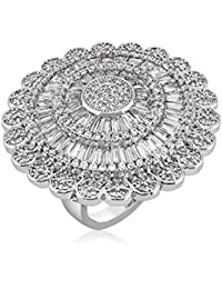 Shaze Traditional Rhodium Toned Shimmering Ring  Rings for Women Ring for Girlfriend