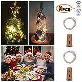 9 Stück LED Flaschen-Licht, deko hochzeit 2M x 20 LED Weinflaschenlichter, Flaschenlichter Lichterketten Party romantische Deko,Kork Flaschen Licht[ 2018 neue Version ] [ Warm-weiß ]