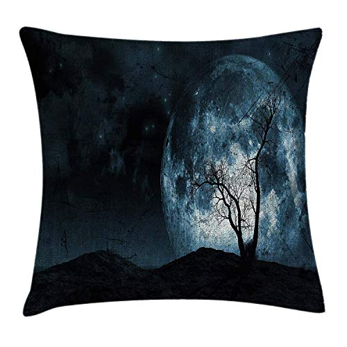 Cushion Cover, Night Moon Sky with Tree Silhouette Gothic Halloween Colors Scary Artsy Background, Decorative Square Accent Pillow Case, 18 X 18 inches, Slate Blue ()