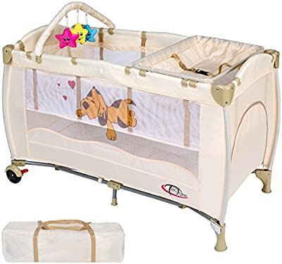 TecTake Cuna infantil de viaje de altura ajustable con acolchado para bebé beige