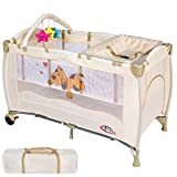 TecTake Kinder Reisebett höhenverstellbar mit Babyeinlage -diverse Farben- (Beige) - 2