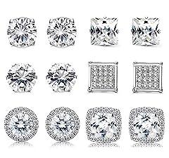 Idea Regalo - Finrezio 6 Paia Halo Orecchini con Cubic Zirconia Taglio Rotondo Quadrato Brillante Orecchini Placcato Oro Bianco
