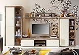 expendio Wohnwand Lamount C 334x191x50cm Eiche Magnolie Schrankwand Wohnzimmerschrank Vitrine Wandschrank Wandboard TV-Board LED-Beleuchtung