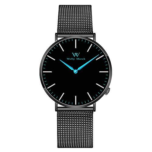 Welly Merck Damen Armbanduhr Schweizer Uhrwerk Saphirglas Luxus Minimalistische ultra dünne 18mm Schwarz Edelstahl Milanaise Armbänder blaue Hände 36mm Zifferblatt 50M...
