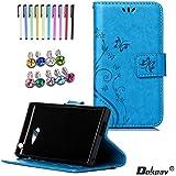 Sony Xperia M2 Funda, Dokpav® Ultra Slim Delgado Flip PU Cuero Cover Case para Sony Xperia M2 con Interiores Slip compartimentos para tarjetas - Azul
