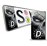 Skino 2 x Vinyl Aufkleber Nummernschild Kennzeichen JDM Stickers Tuning Auto Motorrad Skull Schädel Totenkopf EU QV 12