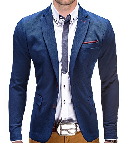 BetterStylz Juan Herren Sakko Jacket Blazer Freizeit Buisiness Jacke Slimfit Größen (S-XXL) (S, Blau/Bordeaux) (Sakko, Blazer Braunes)