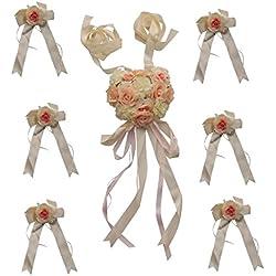 Set de Lazos de Flor para Boda o Decoración de Coche en color ROSA - Más colores a elegir