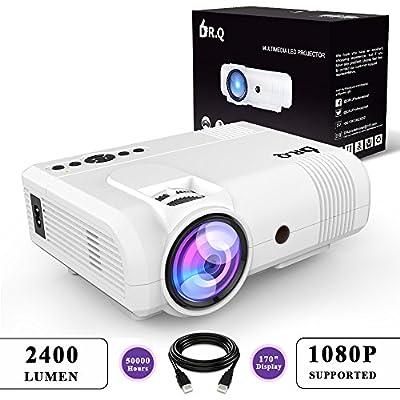 DR.Q L8 Projecteur, 3600 Lux Rétroprojecteur, Mini Projecteur, Vidéoprojecteur supportant 1080P 50000 Heures, supportant HDMI VGA AV USB TF, Home Théâtre Projector, Blanc. de DR.Q