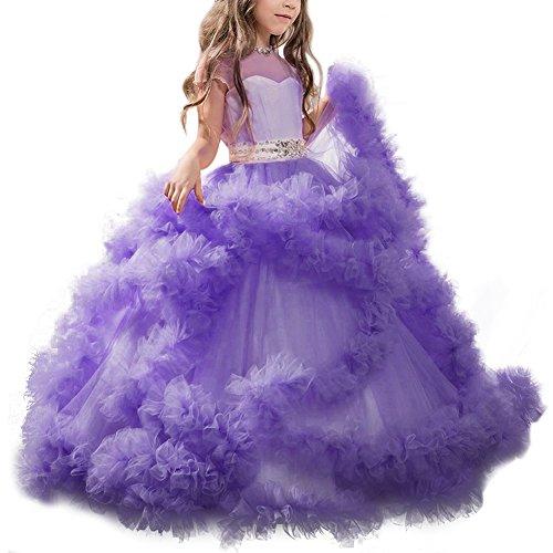 Mädchen Applique Prinzessin Lang Kleid Elegante Tüll Kleid für Hochzeit Brautjungfer #3 Lila 4-5 Jahre